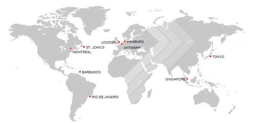 Figure 1: Map of FEDNAV offices worldwide (FEDNAV, 2016)